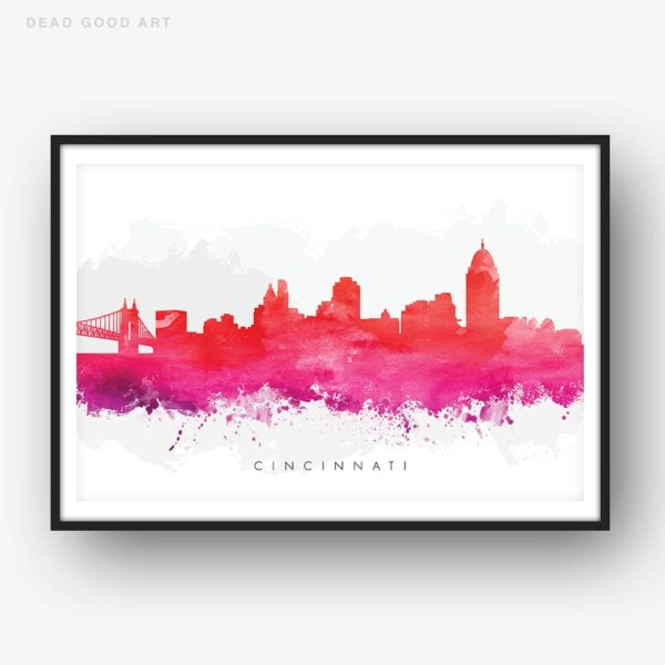 cincinnati skyline red watercolor print