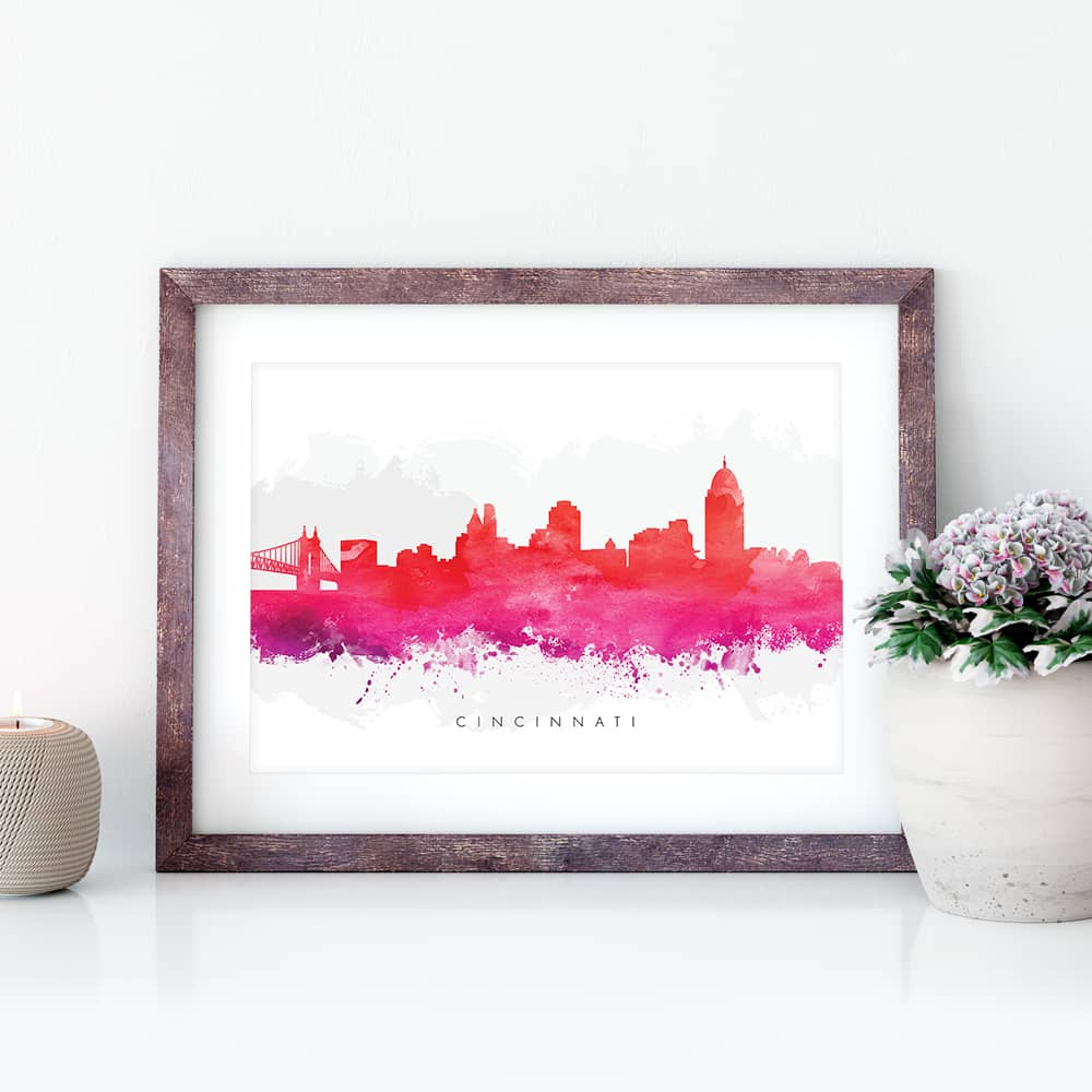 cincinnati skyline red watercolor print closeup