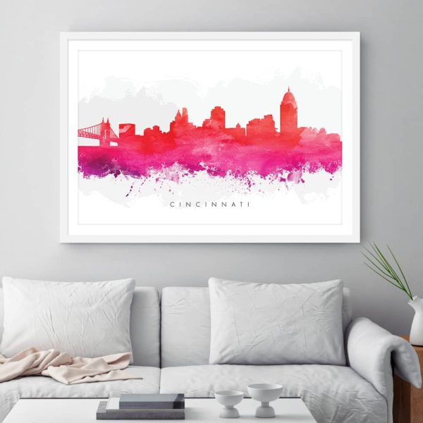 cincinnati skyline red watercolor print framed