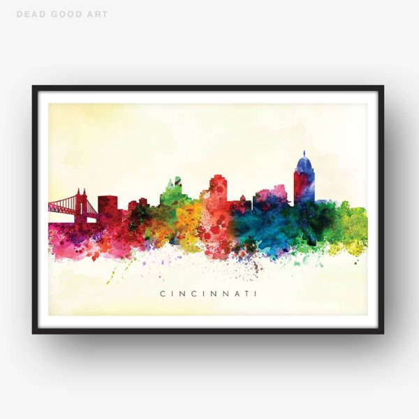 cincinnati skyline yellow wash watercolor print