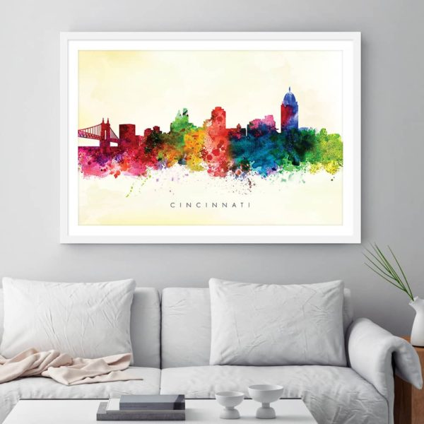 cincinnati skyline yellow wash watercolor print framed