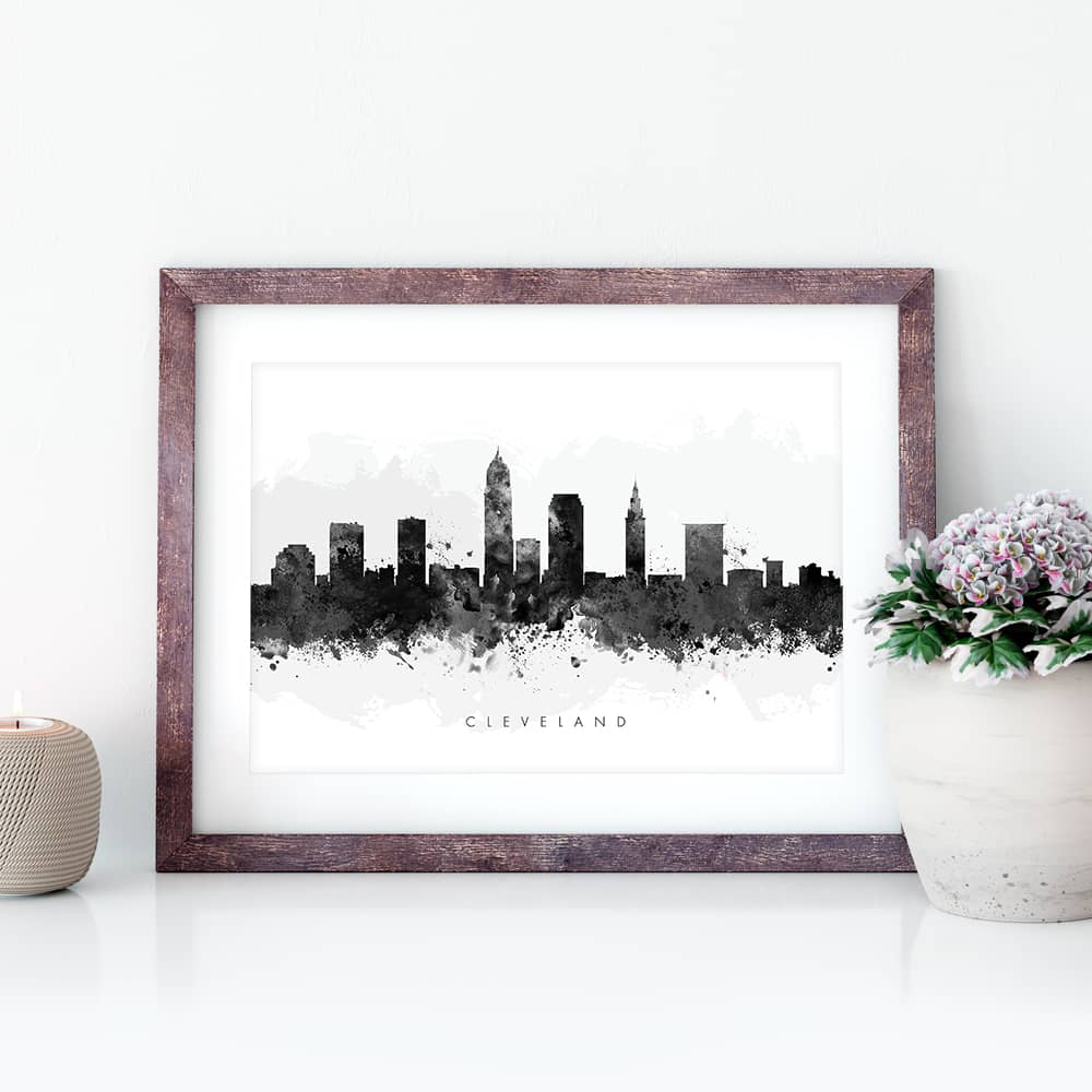 cleveland skyline black white watercolor print closeup