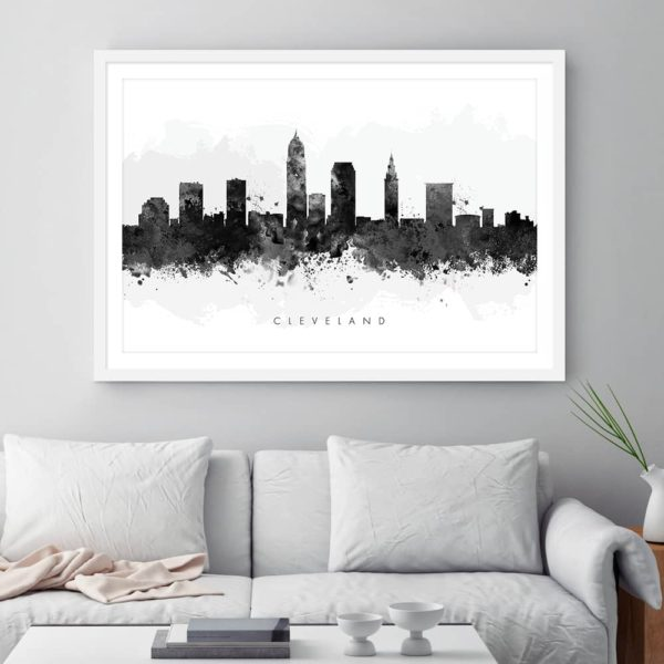 cleveland skyline black white watercolor print framed