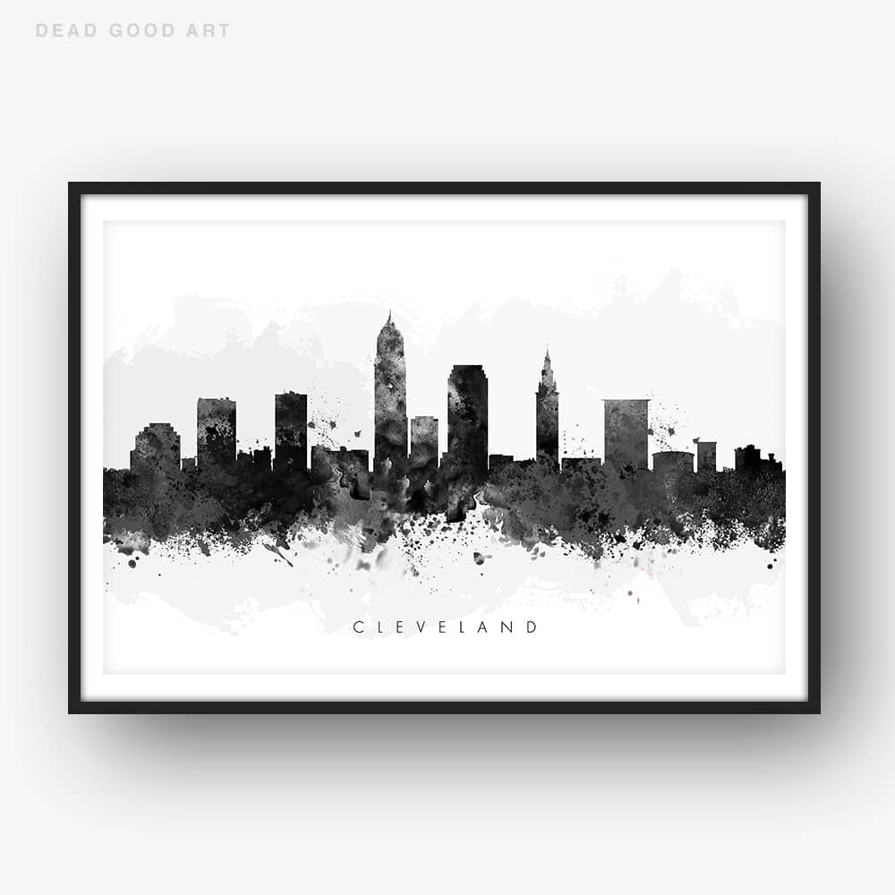 cleveland skyline black white watercolor print