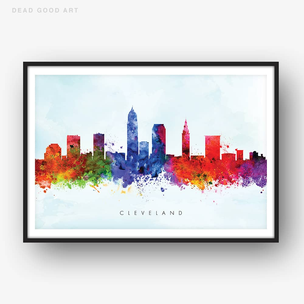 cleveland skyline blue wash watercolor print