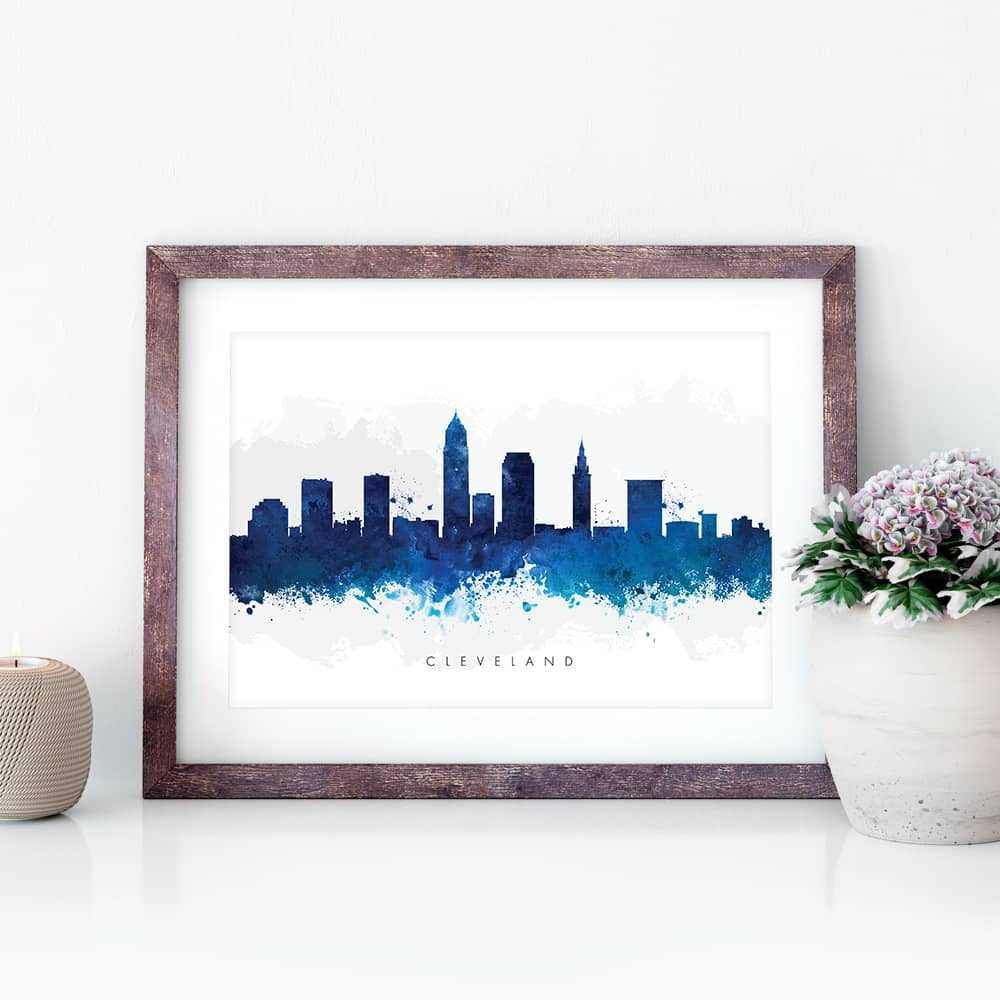 cleveland skyline blue watercolor print closeup