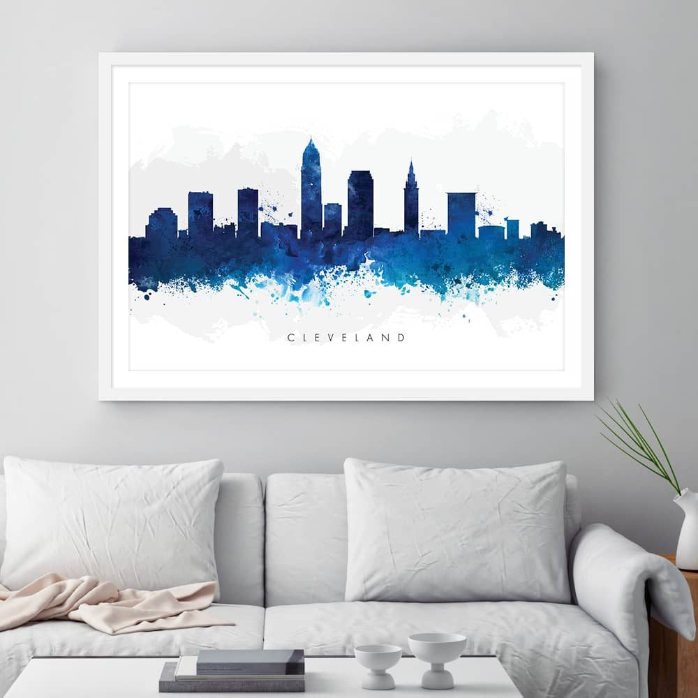 cleveland skyline blue watercolor print framed