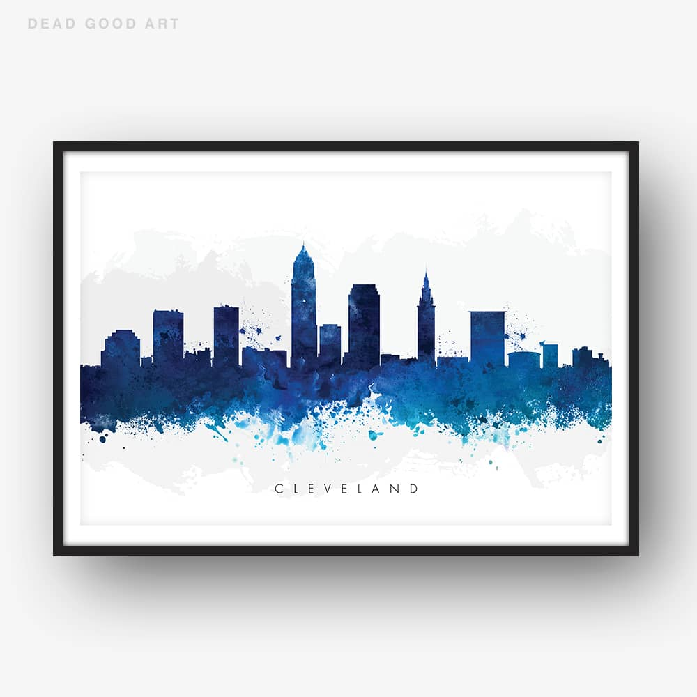 cleveland skyline blue watercolor print