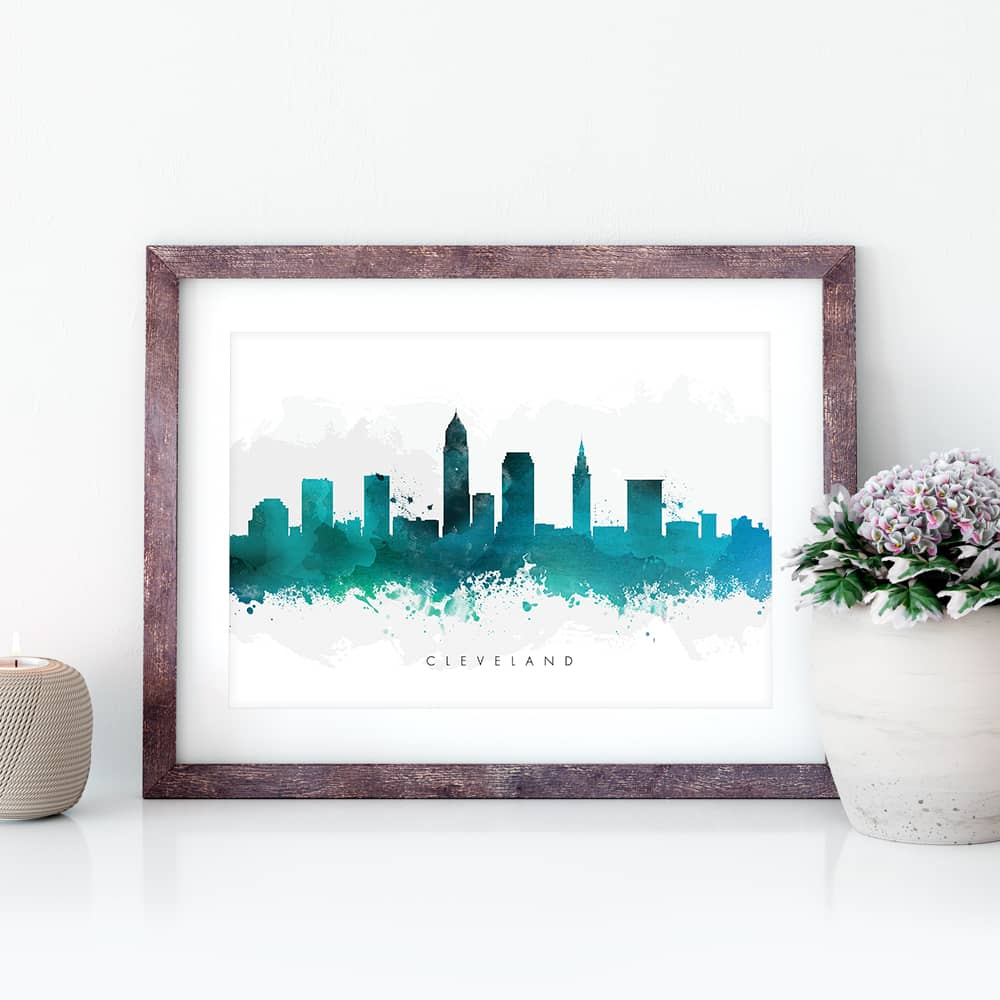 cleveland skyline green watercolor print closeup