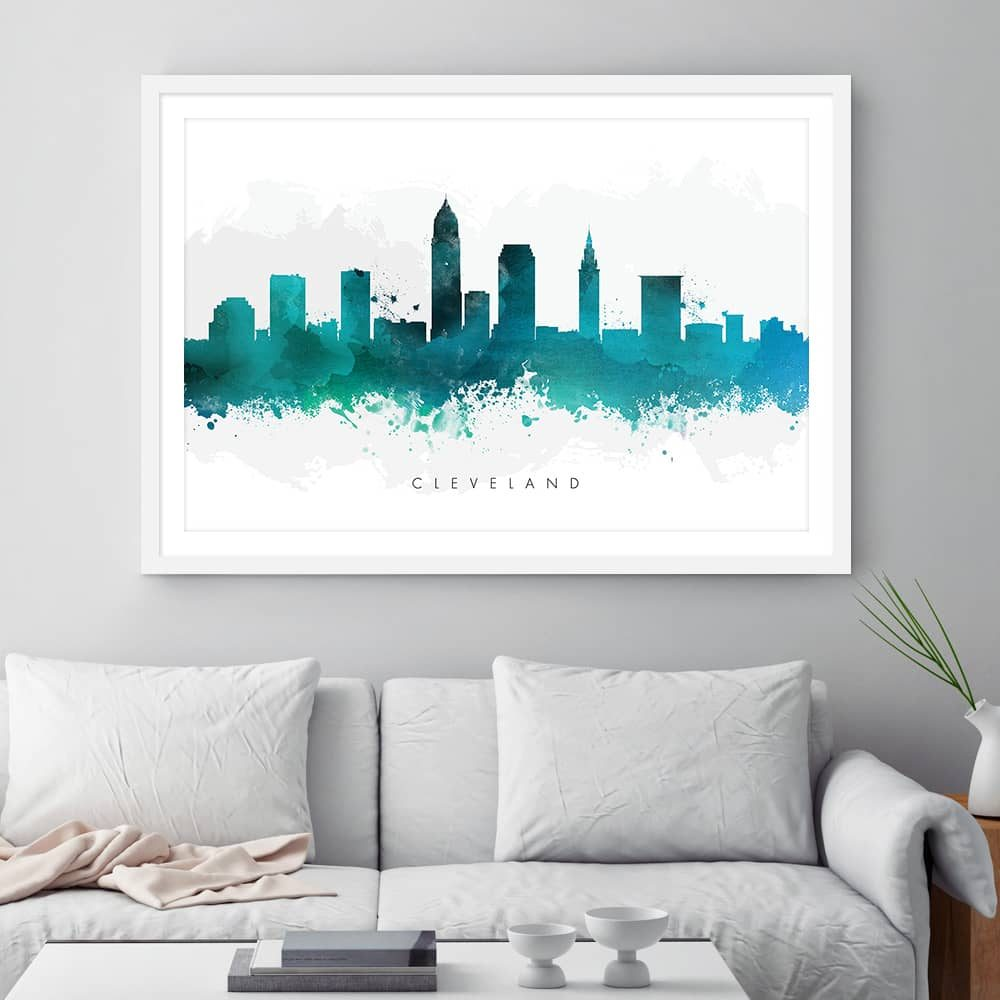 cleveland skyline green watercolor print framed