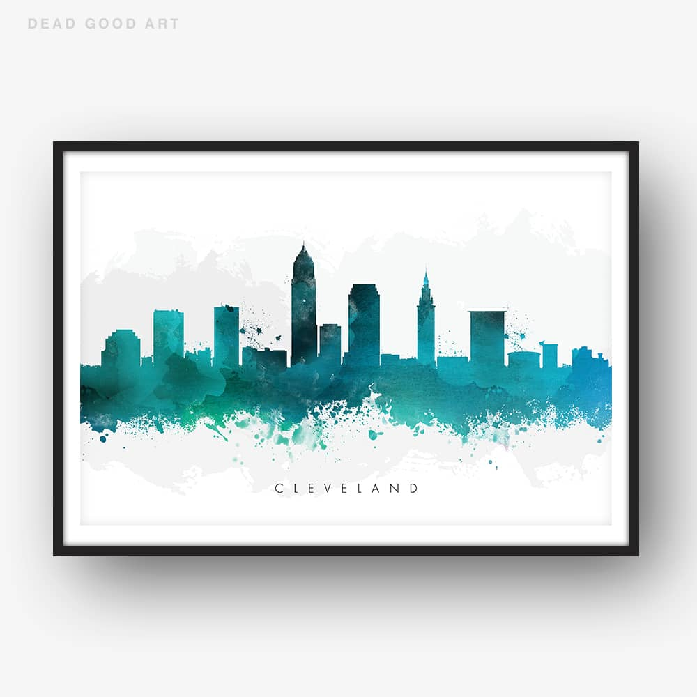 cleveland skyline green watercolor print