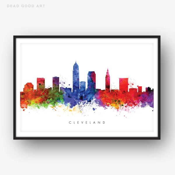 cleveland skyline multi color watercolor print