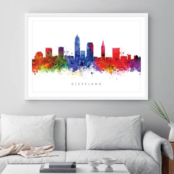 cleveland skyline multi color watercolor print framed