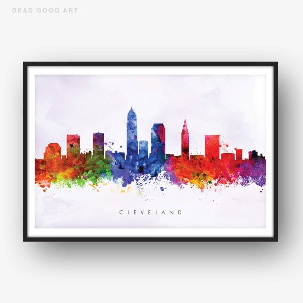 cleveland skyline purple wash watercolor print