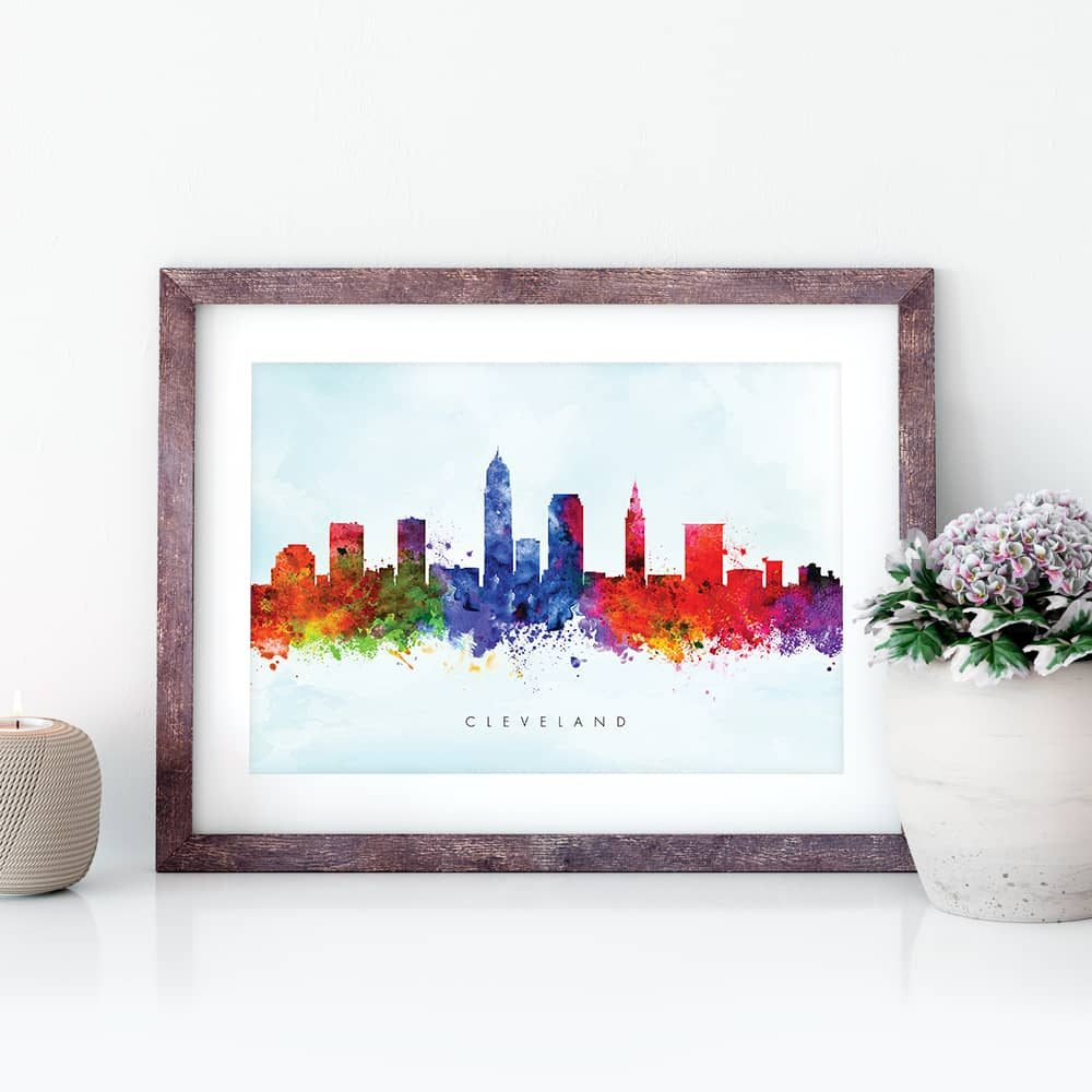 cleveland skyline purple wash watercolor print closeup 1