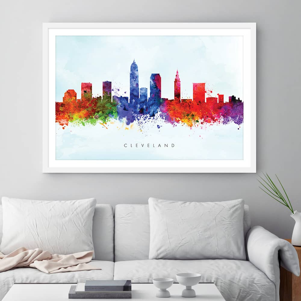 cleveland skyline purple wash watercolor print framed 1