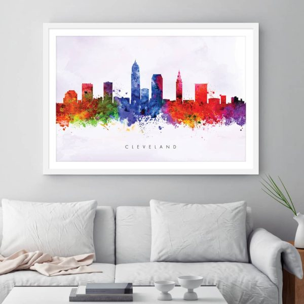 cleveland skyline purple wash watercolor print framed