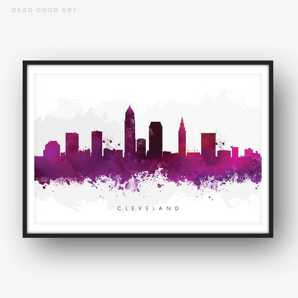 cleveland skyline purple watercolor print