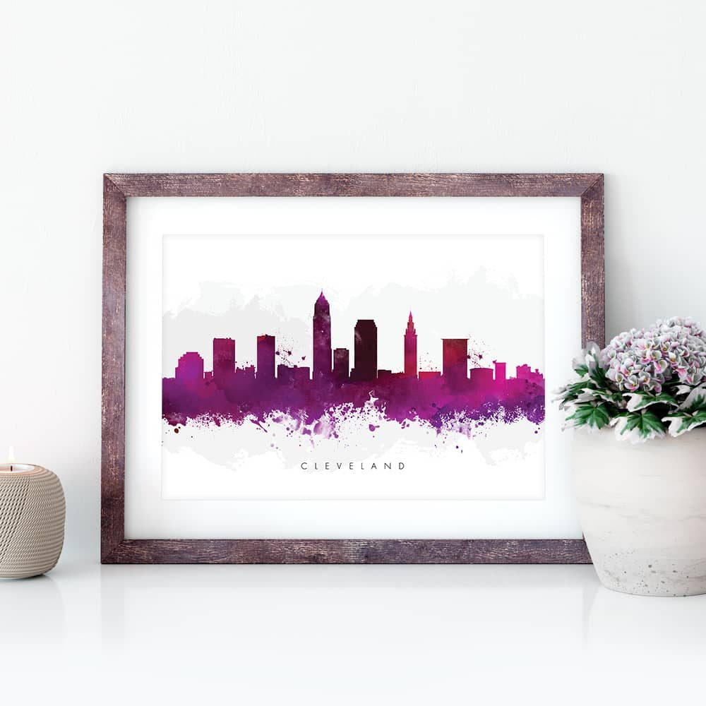 cleveland skyline purple watercolor print closeup