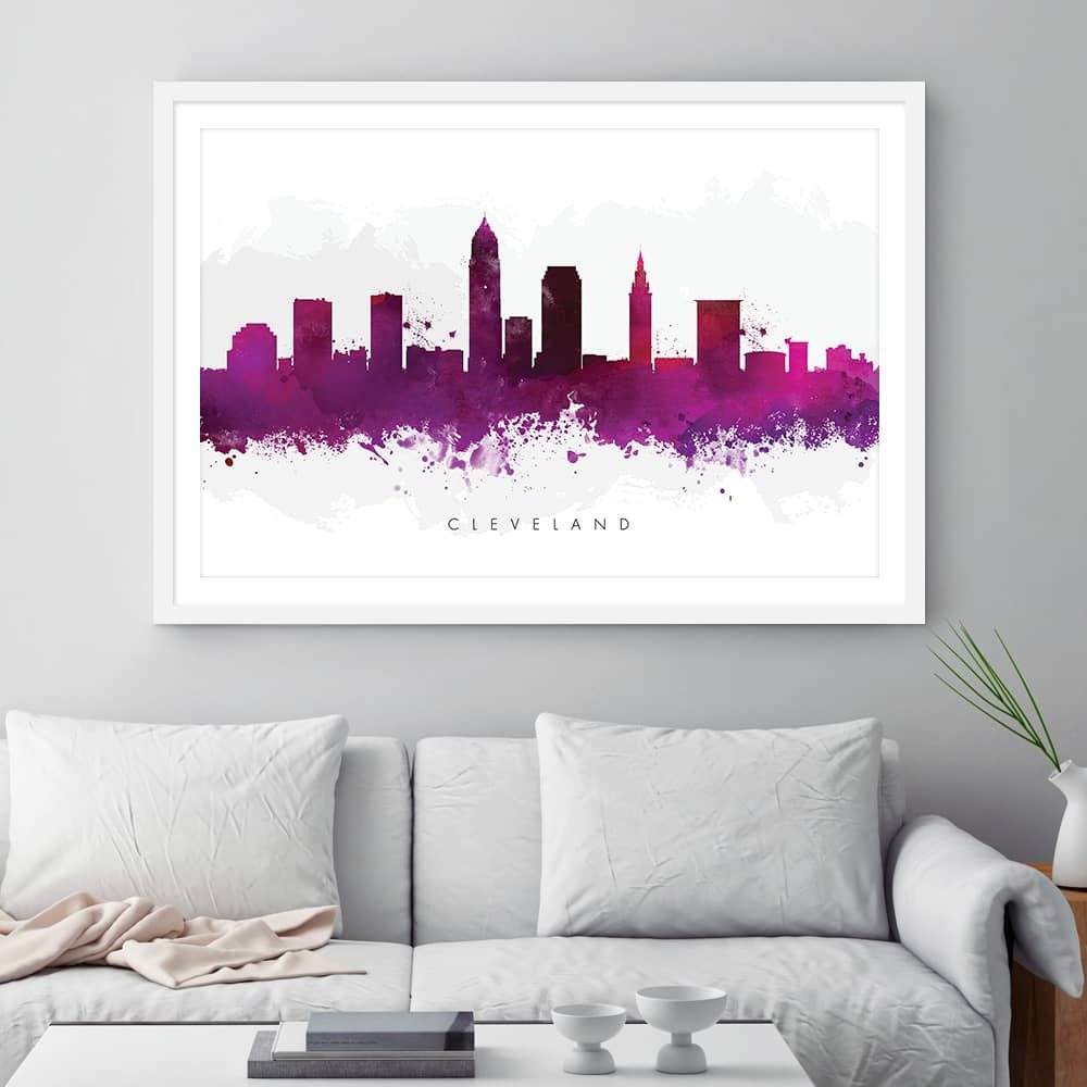 cleveland skyline purple watercolor print framed