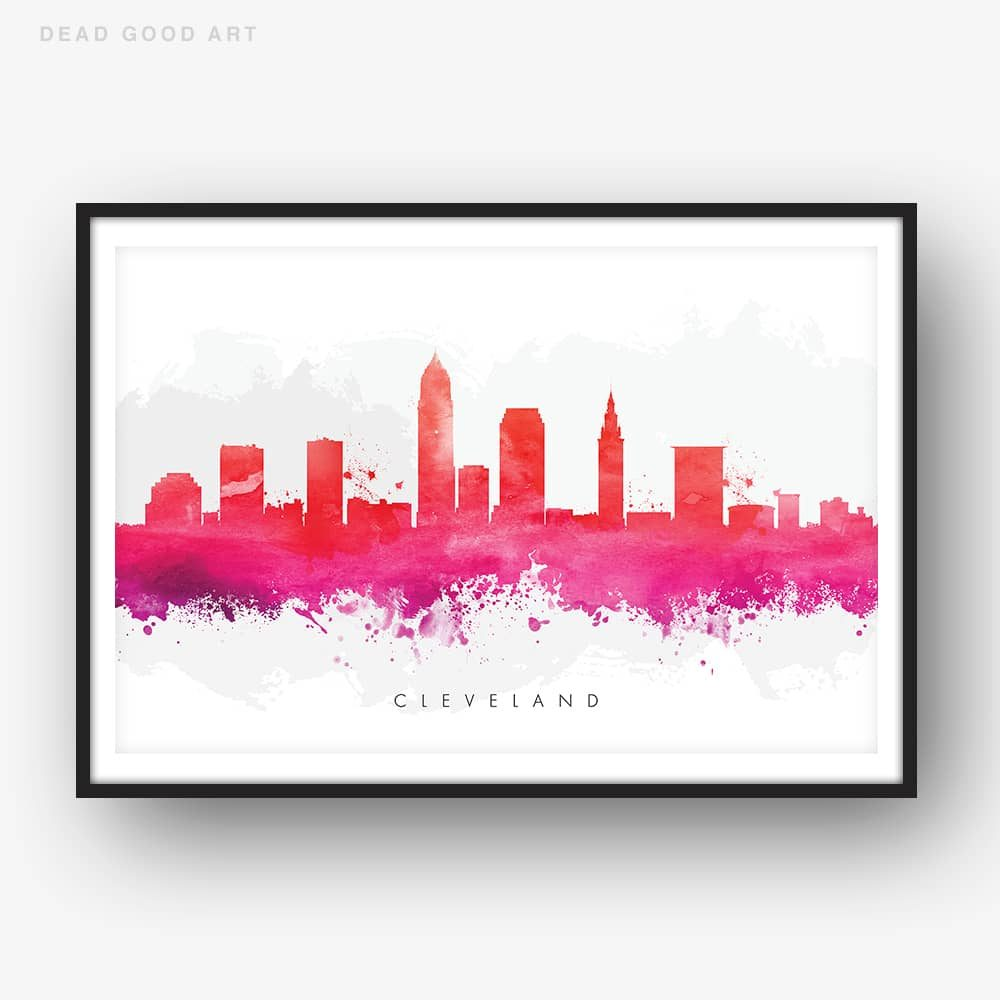 cleveland skyline red watercolor print
