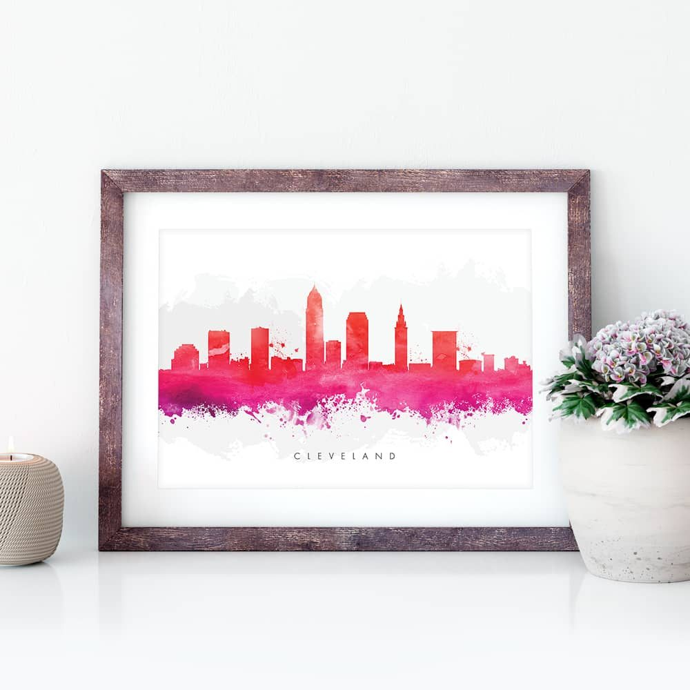 cleveland skyline red watercolor print closeup