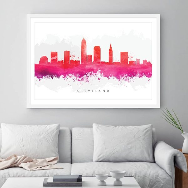 cleveland skyline red watercolor print framed