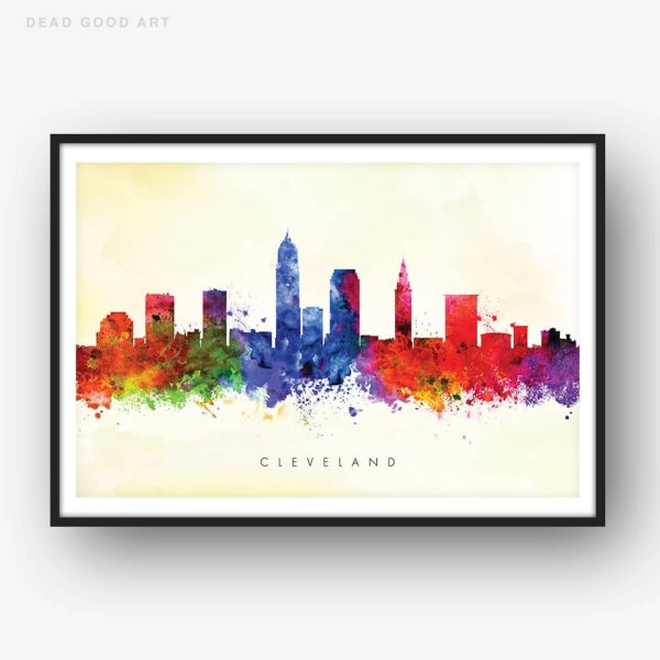 cleveland skyline yellow wash watercolor print framed