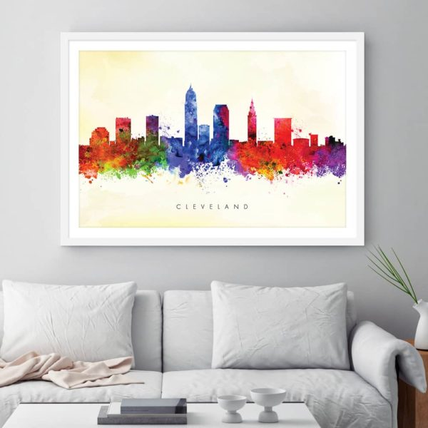 cleveland skyline yellow wash watercolor print framed framed