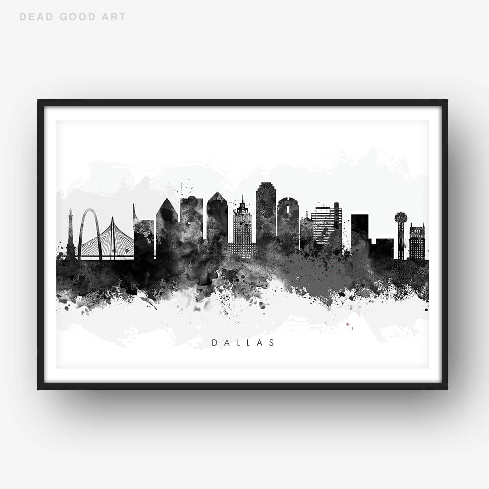 dallas skyline black white watercolor print