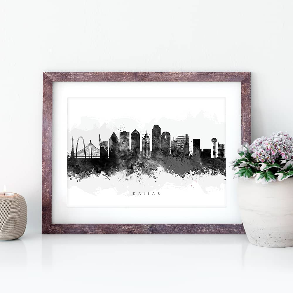 dallas skyline black white watercolor print closeup