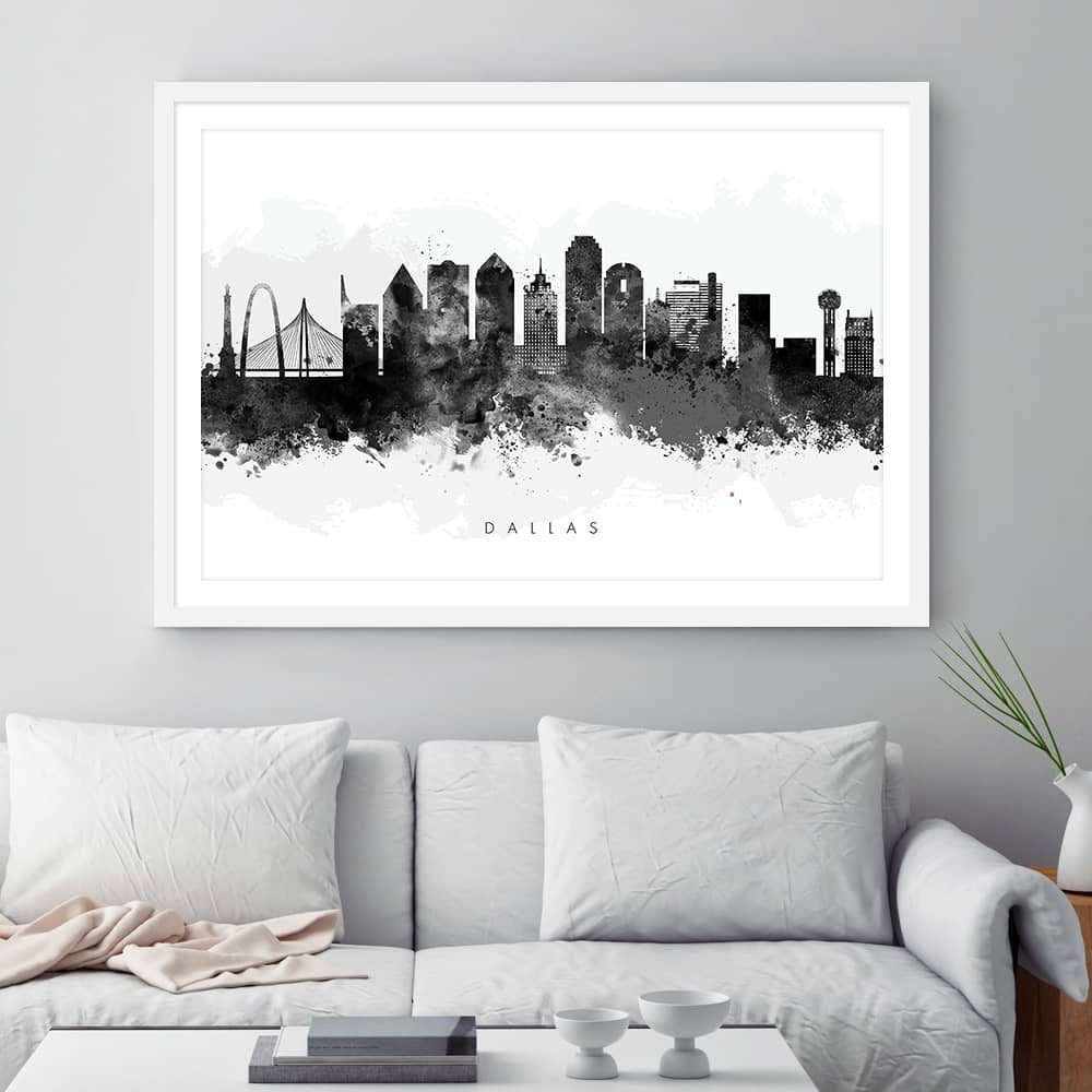 dallas skyline black white watercolor print framed