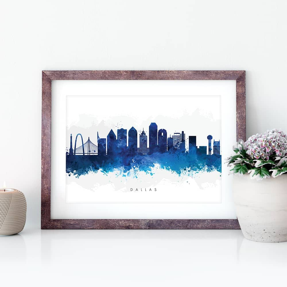 dallas skyline blue watercolor print closeup