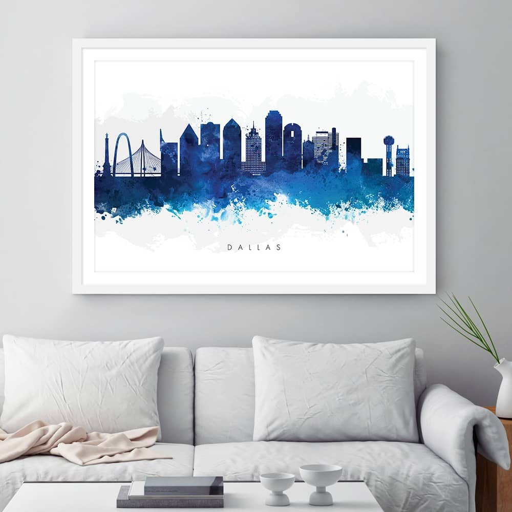 dallas skyline blue watercolor print framed