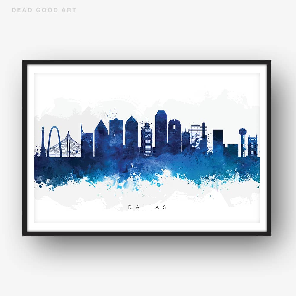 dallas skyline blue watercolor print