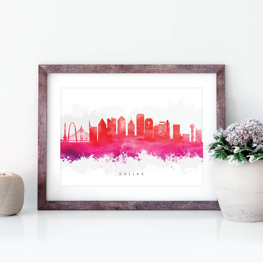 dallas skyline red watercolor print closeup
