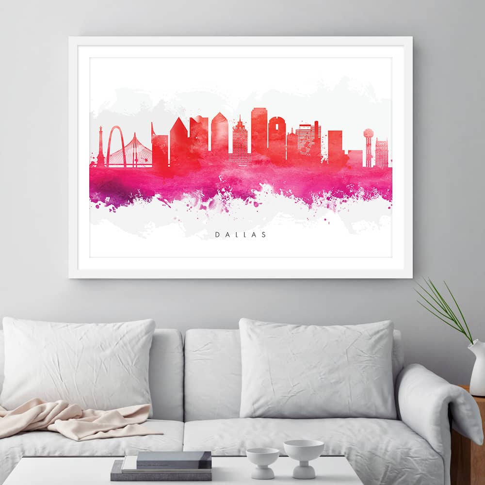 dallas skyline red watercolor print framed