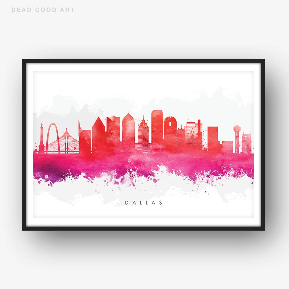 dallas skyline red watercolor print