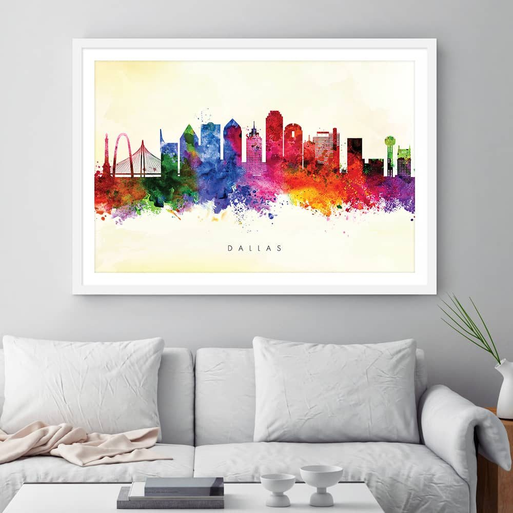 dallas skyline yellow wash watercolor print framed