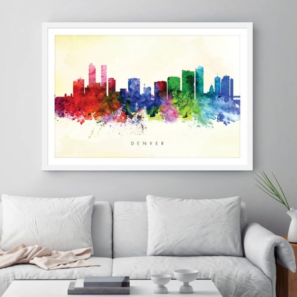 denver skyline yellow wash watercolor print framed