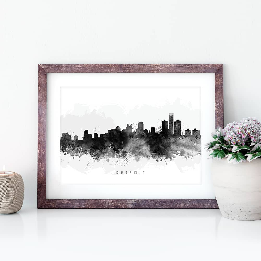 detroit skyline black white watercolor print closeup