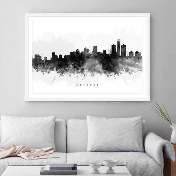 detroit skyline black white watercolor print framed