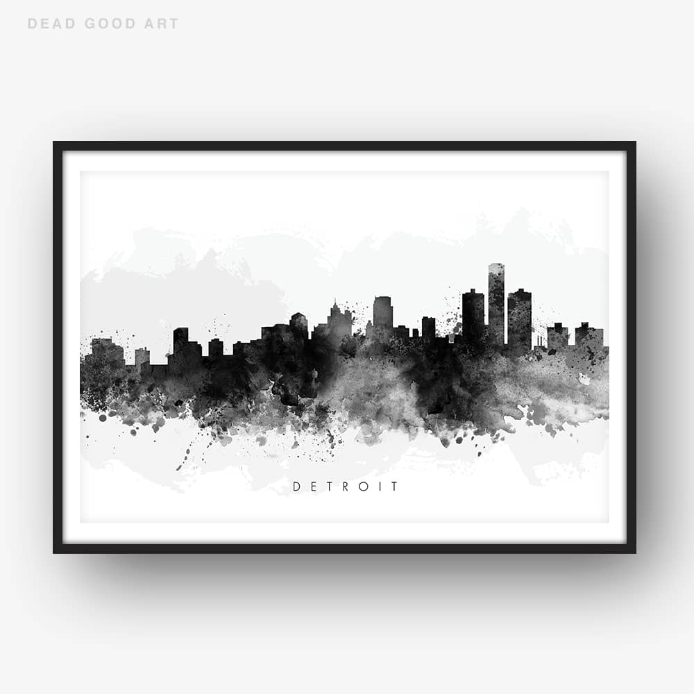 detroit skyline black white watercolor print