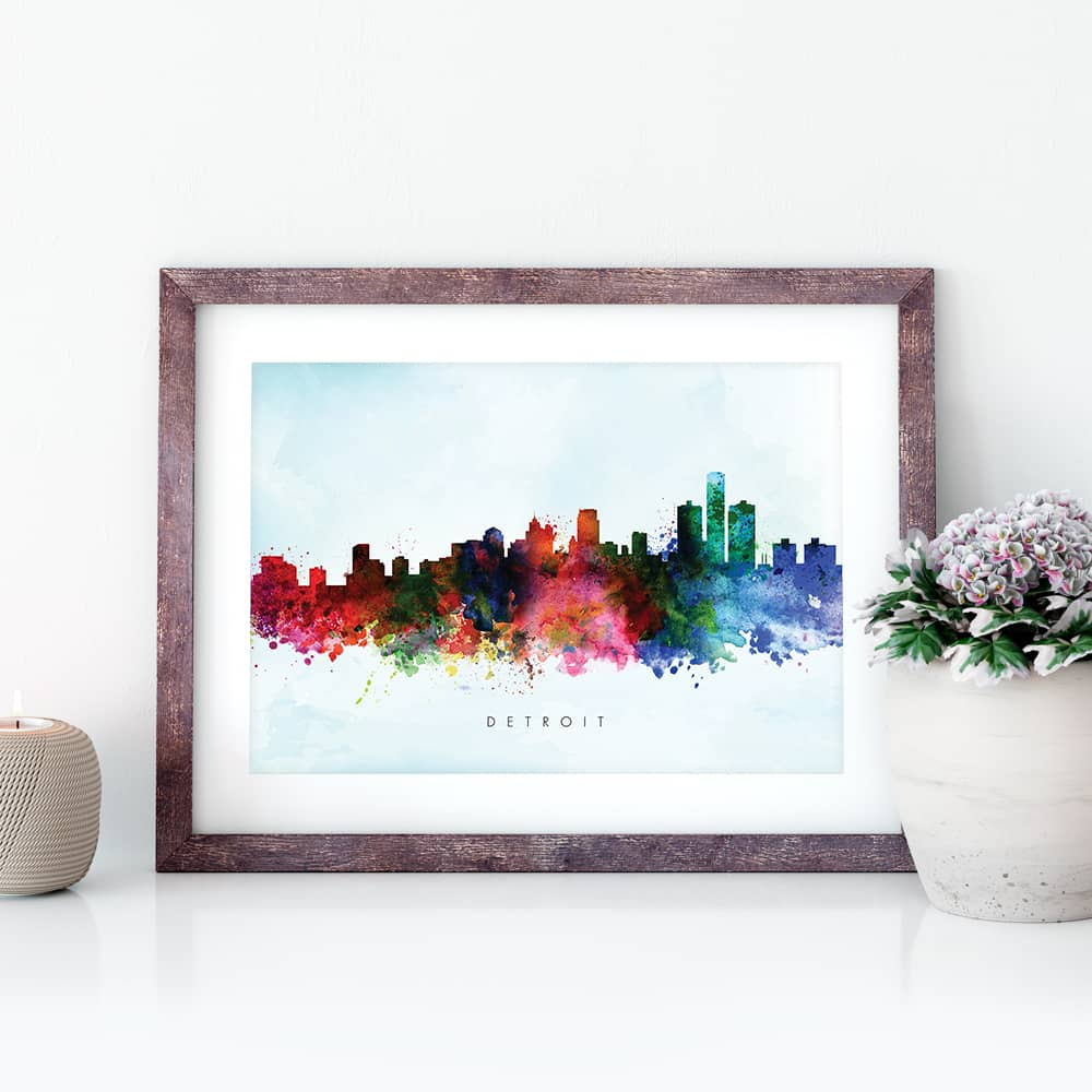 detroit skyline blue wash watercolor print closeup