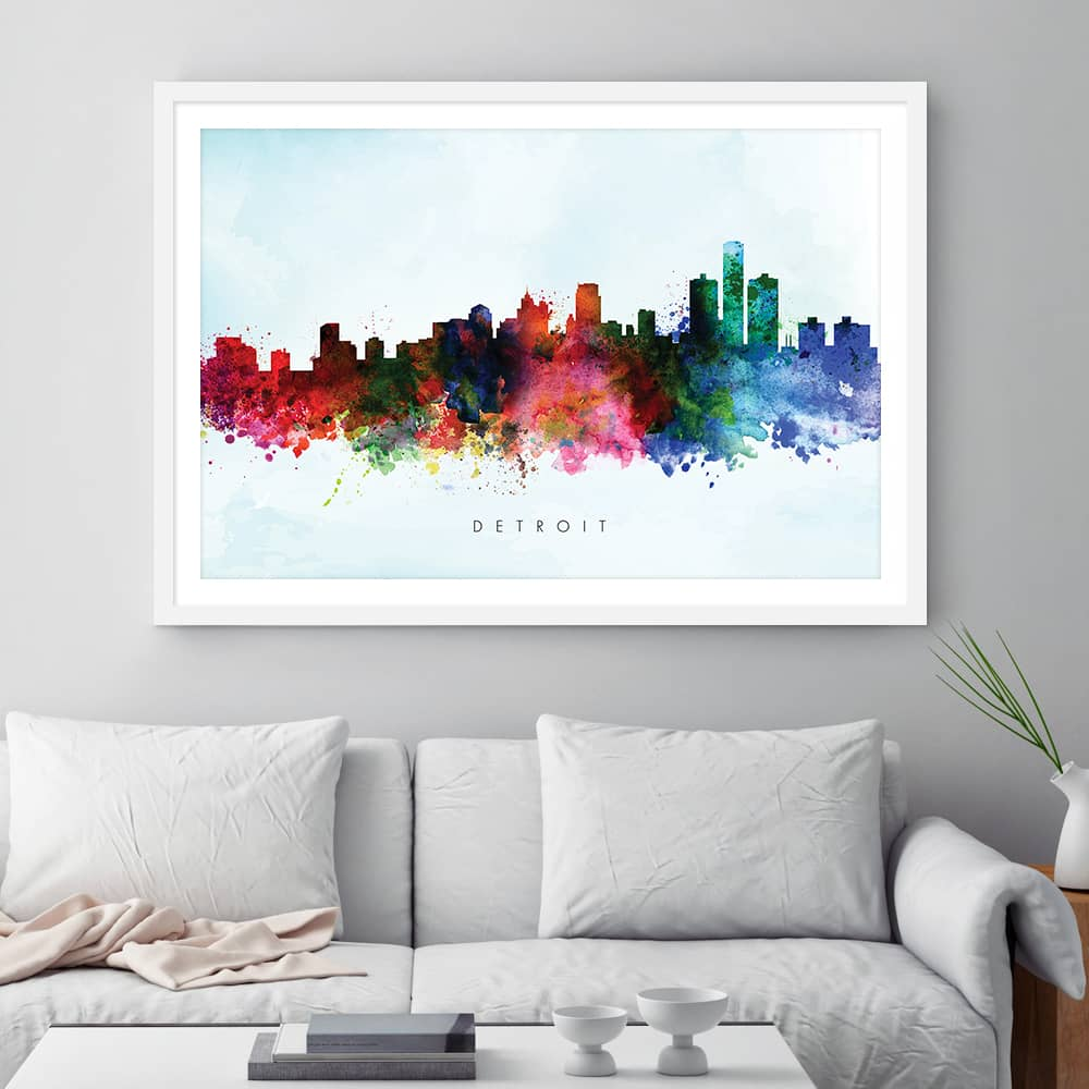 detroit skyline blue wash watercolor print framed