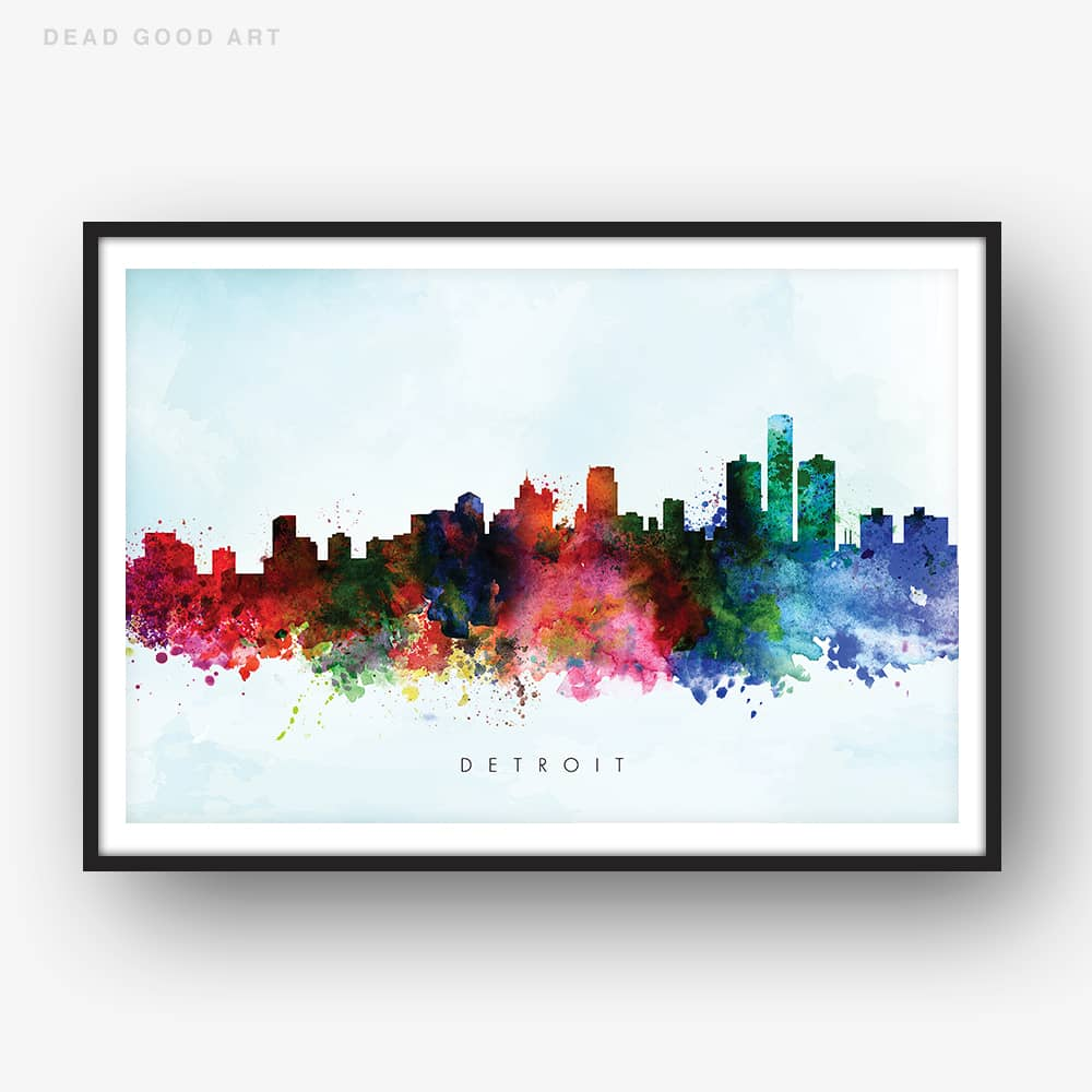detroit skyline blue wash watercolor print