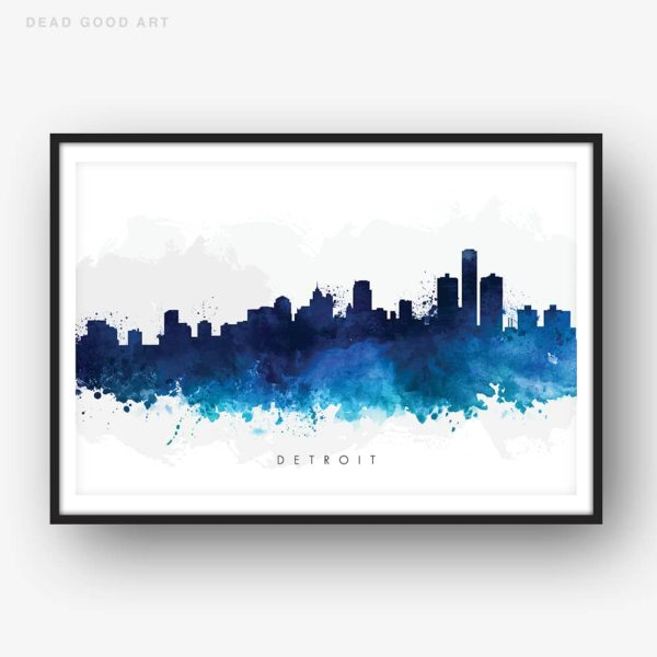 detroit skyline blue watercolor print