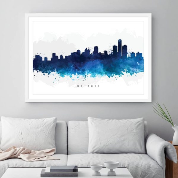 detroit skyline blue watercolor print framed
