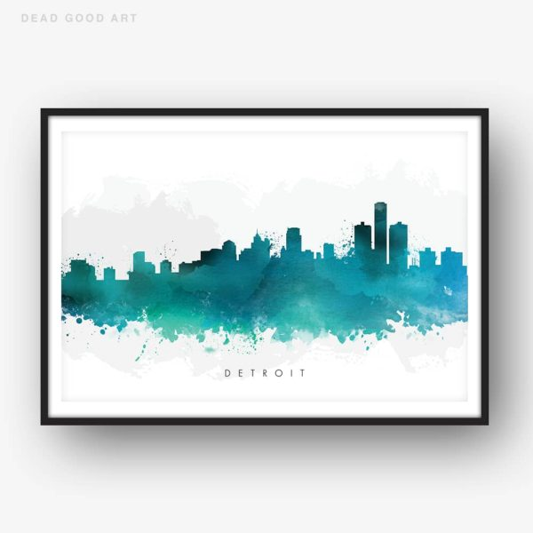 detroit skyline green watercolor print