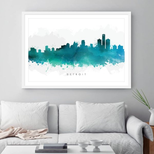 detroit skyline green watercolor print framed